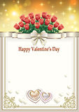 Postcard to Valentine's Day with a bouquet of red roses and hearts Royalty Free Stock Photos