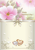 Postcard to Valentine's Day with pink flowers and hearts Royalty Free Stock Image