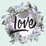 Postcard to Valentine`s Day. Watercolor background with love han Royalty Free Stock Photography