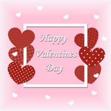 Postcard to the Valentine`s day. white frame on a pink backgroun Stock Photography