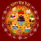 Postcard with treats and greetings for the new. Vector postcard with treats and greetings for the new year Royalty Free Stock Image