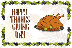 Postcard with turkey for a happy Thanksgiving vector illustration