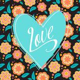 Postcard with turquoise heart on dark floral. Postcard with heart on dark floral pattern. Wedding card. Sign Love Stock Image
