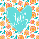 Postcard with turquoise heart on white floral. Postcard with heart on white floral pattern. Wedding card. Sign Love Royalty Free Stock Images