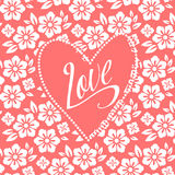 Postcard with turquoise heart on white floral Stock Photo