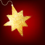 Postcard with a twinkling gold star. EPS 8 Stock Image