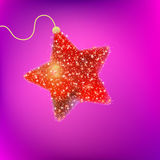Postcard with a twinkling red star. EPS 8 Royalty Free Stock Photos