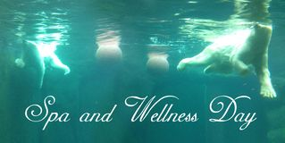 Postcard with two bright polar bears who swims with two balls underwater in a turquoise waters royalty free stock photos