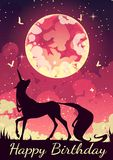 Postcard Unicorn in the wizarding world. Colorful postcard with the image of a mystical unicorn. A beautiful moon illuminates the night. The image is made in stock illustration