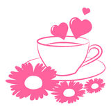 Postcard Valentine. Cup flowers heart silhouette  illustration Royalty Free Stock Photos