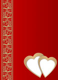 Postcard - valentine day. Celebratory background to the Valentine's day (with elements of two hearts, fantastic columns Royalty Free Stock Photo