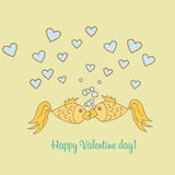 Postcard Valentine Day goldfish. Postcard happy Valentine Day goldfish are kissing Stock Image