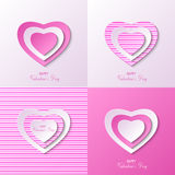 Postcard for valentine day. Vector pink variants of postcards for valentine day Royalty Free Stock Photography