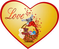 Postcard  on the Valentine`s Day. Basket with gifts and with  birds  on the Valentine`s day Stock Image