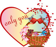 Postcard  on the Valentine`s Day. Basket with gifts and with  birds  on the Valentine`s day Stock Photo