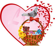 Postcard  on the Valentine`s Day. Basket with gifts and with  birds  on the Valentine`s day Stock Photography