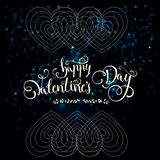 Postcard for Valentine`s day with a beautiful image of heart Stock Photography