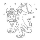 Postcard for Valentine`s day. 14 Feb. Be my Valentine. Love the octopus hugs confused pirate. Vector illustration isolated on white. Coloring page Royalty Free Illustration