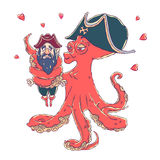 Postcard for Valentine`s day. 14 Feb. Be my Valentine. Love the octopus hugs confused pirate. Vector illustration isolated on white. T-shirt printing Stock Illustration