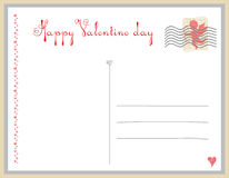 Postcard on Valentine's day. Stock Images