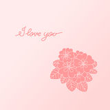 Postcard Valentine's Day. Happy Valentine's Day. Postcard with flowers Stock Image