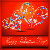 Postcard on Valentines day with the heart of gold  Royalty Free Stock Images