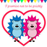 Postcard Valentine's Day with hedgehogs Royalty Free Stock Photo