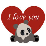 Postcard Valentine`s day. red heart and Panda. with the words I Royalty Free Stock Photo