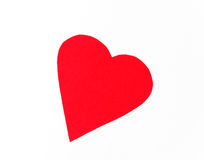 The postcard. Valentine's Day. Red heart on white background Stock Photography
