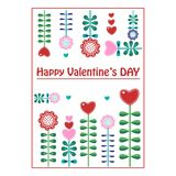 Postcard Valentine`s Day. Stylized flowers vector illustration