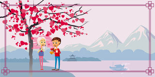 Postcard Valentine`s Day, two characters, the boy gives a girl the heart, under a blossoming tree of hearts, love Stock Photography