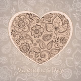 Postcard Valentines Day . Floral ornament in the shape of heart Stock Images