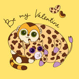 Postcard for Valentines Day with giraffe and monke. Coloured cartoon illustrated postcard fo Valentines Day with cute giraffe and monkey vector illustration