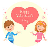 Postcard on Valentine's day with the image of girl and boy, and between them a heart with a congratulatory inscription. Royalty Free Stock Photo