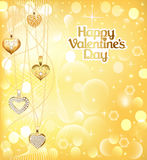 Postcard on Valentines day with pendants hearts chain of gold co Stock Photos