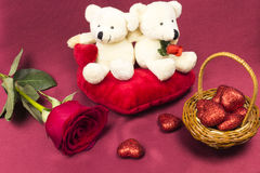 Postcard on Valentines day with roses and toy. Royalty Free Stock Image
