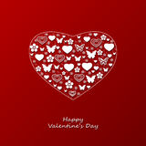 Postcard for valentines day. Vector red postcard for valentines day Royalty Free Stock Photos