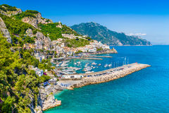 Postcard view of Amalfi Coast, Campania, Italy. Scenic picture-postcard view of famous Amalfi Coast with beautiful Gulf of Salerno, Campania, Italy Stock Photo