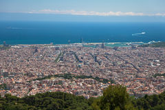 Postcard view of Barcelona from the Tibidabo hill Royalty Free Stock Image