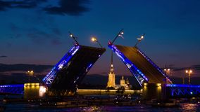 Postcard view of Palace Bridge with Peter and Paul Fortress - symbol of St. Petersburg White Nights stock video