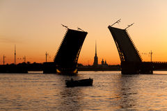 Postcard view of Palace Bridge with Peter and Paul Fortress Royalty Free Stock Images
