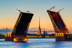 Postcard view of Palace Bridge in St. Petersburg,  Royalty Free Stock Images