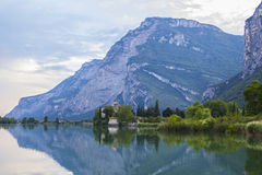 Postcard views of the landscape Tolbino alpine lake in the region of Trentino Royalty Free Stock Photos