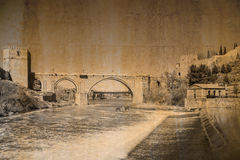 Postcard in vintage look of the bridge San Martin at Toledo, Spain Royalty Free Stock Photography