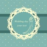 Postcard in vintage style. Invitation card with the bride and groom in vintage style. Bride and groom. Wedding invitation. Vector illustration Stock Photo