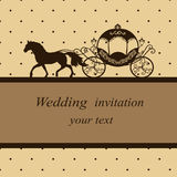 Postcard in vintage style. Invitation card with carriage and horse in vintage style. Wedding invitation. Vector illustration Royalty Free Stock Photos