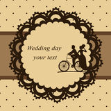 Postcard in vintage style. Invitation card with newlyweds on a bicycle in vintage style. Bride and groom. Wedding invitation. Vector illustration Stock Images