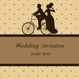 Postcard in vintage style. Invitation card with newlyweds on a bicycle in vintage style. Bride and groom. Wedding invitation. Vector illustration Stock Photo