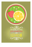 Postcard vitamins love lemon strawberry. Postcard from a philosophical phrase about vitamins of love lemon and strawberry. Lettering, beautiful decorative text Royalty Free Stock Image