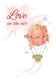 Postcard with watercolor balloon Stock Photography